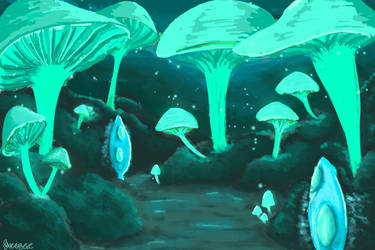 Bio-luminescent Mushrooms lane by SXerosere