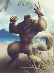 Commish 495: Warwolf at a beach by rhardo