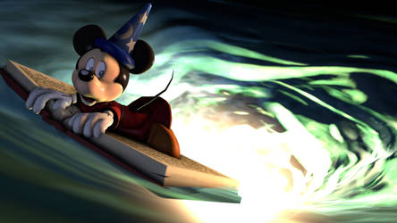 (SFM) Sorcerer Mickey caught in a whirlpool by Infante2017