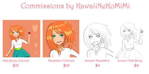 Commissions are open II by KawaiiNekoMiMi