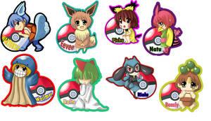 Pokemon Gijinka keychains by LazySensei