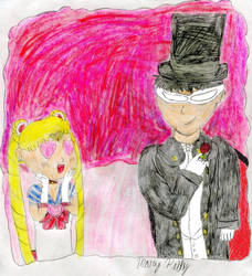 Sailor Moon and Tuxedo Mask by MaryKelly10