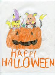 Halloween Pikachu and Raichu by MaryKelly10