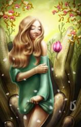 flower and wind by PinkBunnyLilli