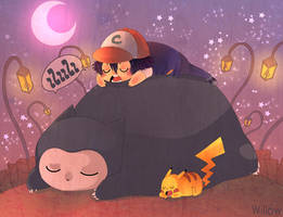 Snorlax is sleeping by Willow-San