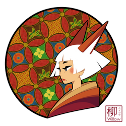 A white-haired Kitsune by Willow-San