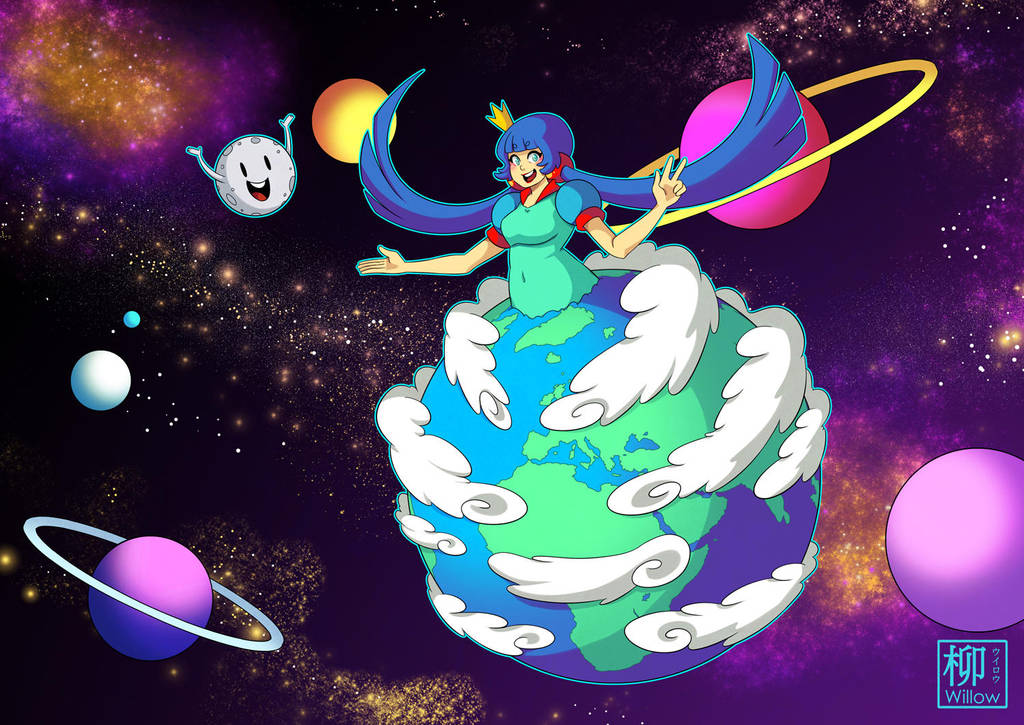 Earth and Moon by Willow-San