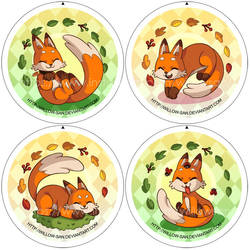 Cute fox badges by Willow-San