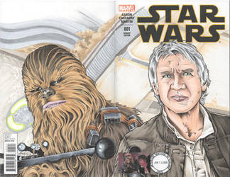 Han and Chewy Double Cover Sketch Cover by rodneyfyke