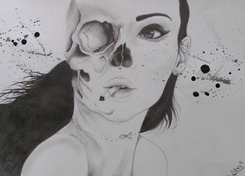 Half Skull Half Woman By Szabopetra On Deviantart