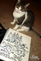Cat watching some zombie sketchin' action. by DESEO-ONE