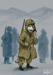 Husky Marine at the Battle of Chosin Reservoir by PeterDonahue