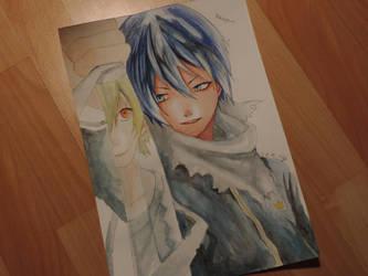 Noragami Yato and Yukine Watercolor by tak17hiro