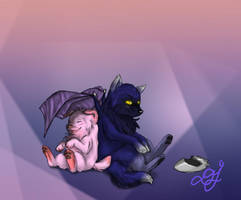 Kirby pup and Metawolf by LoveBobu