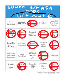 My Bingo Card for Super Smash Bros Ultimate by LarioLario54321