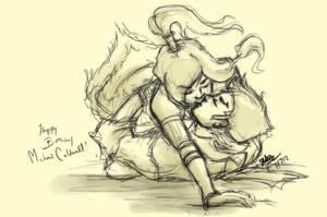 Korra and Mako by Nhuey