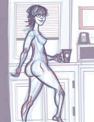 Coffee Girl Sketch by Underguyerotica