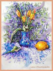Tulips watercolor by LORETANA