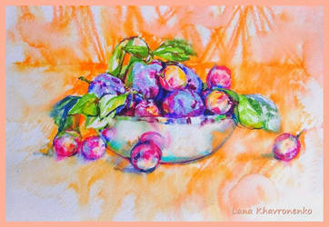 Still life with plums by LORETANA