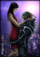 Art trade - Ayra and Garrus by Nerissien