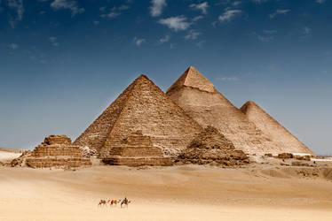 Pyramids at Giza by wolfgatephotography