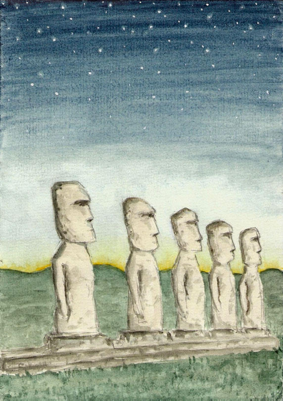 Moai, Easter Islands - Myths and legends Contest by LadyAnaire