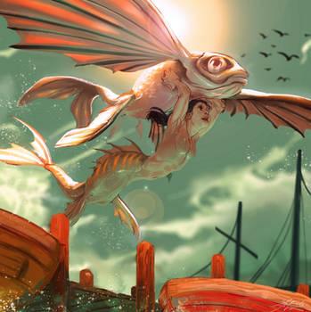 Flying mermaid by Kantarti