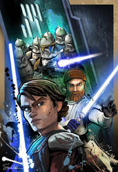 Anakin and Obi with Clones by SteveAndersonDesign