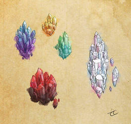 Watercolor Crystals by Momopaw
