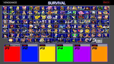 Super Smash Bros. VENGEANCE Character Roster by CartoonAnimeFan2000