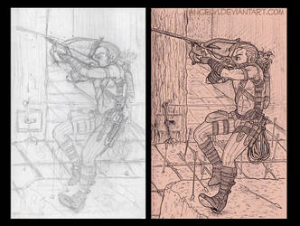 Close Call Part 2 - Pencil and Ink Comparison by angelvi