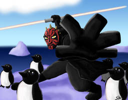 Darth Maul and Penguins by SenorCyborg7