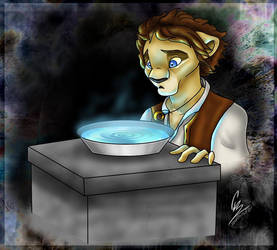 Frodo looks into the mirror by spiritwolf77