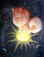 Space Pomeranian by spiritwolf77