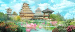 Lotus Pond by Milkmom