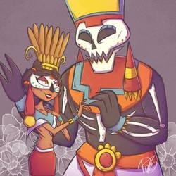 Mictecacihuatl y Mictlantecuhtli by akanague
