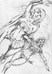 Supergirl and Wondergirl by DLimaArt