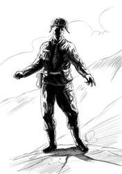Soldier character study sketch by Dragonbrush