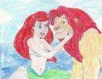 Ariel and Simba by twoworldsonekingdom