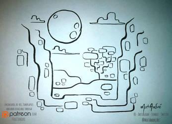 Inktober 13 - Moonlit Cliffside by MatAndre