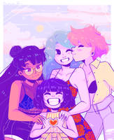 Sailor Moon: Saturn, Uranus, Neptune, Pluto by ArtGuru123