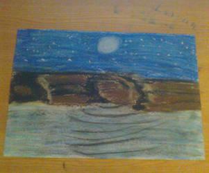 oil pastel moonlight waterfall by vuk99