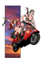 Scooter GIrls in COLOR by angryrooster