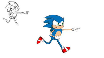 Sonic running. by ImPantsAtThis