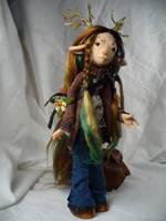Sophie - Deer Child - OOAK art doll by mammalfeathers