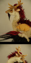 Kirin - gold and maroon - OOAK by mammalfeathers
