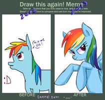 draw this again meme (RAINBOW DASH challenge) by cheryl-jum