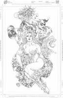 Poison Ivy Harley Quinn BW by harveytolibao