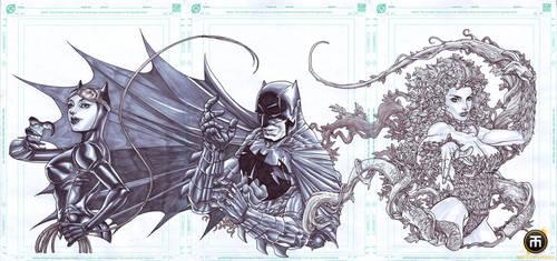 Triple Treat BATMAN by harveytolibao