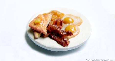 Commission - Breakfast Plate Tie Clasp by PepperTreeArt